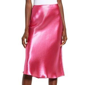 Nordstrom Leith Pink Satin Midi Skirt